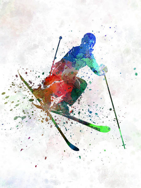 Competitive Wall Art - Painting - Woman Skier Freestyler Jumping by Pablo Romero