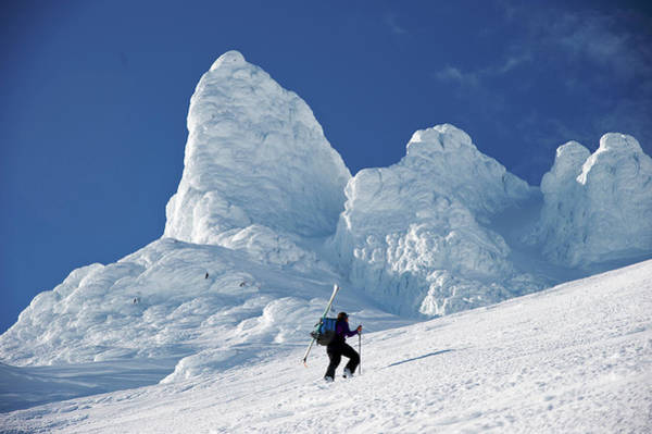 Gulf Of Alaska Photograph - Woman Skiers Ascends The Northeast by HagePhoto