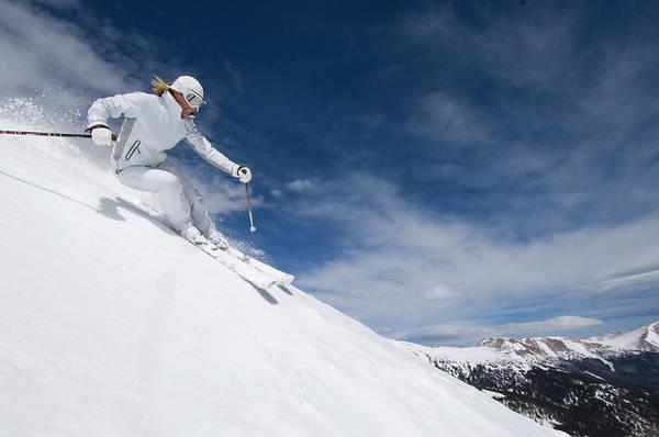 Knit Hat Photograph - Woman Skiing At Loveland, Colorado by Scott Markewitz