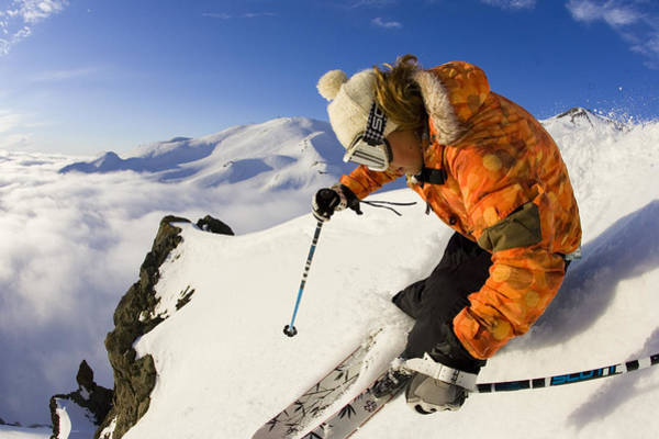 Wall Art - Photograph - Woman Skiing At Sunset, Chile by Gabe Rogel