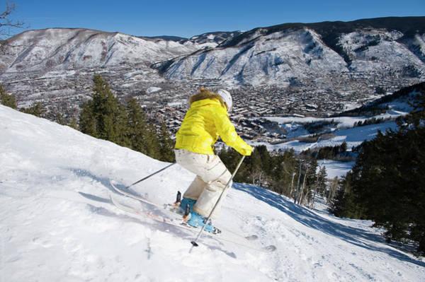 Wall Art - Photograph - Woman Skiing In Aspen, Colorado by Scott Markewitz