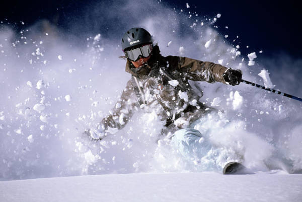 Wall Art - Photograph - Woman Skiing Powder In The Wasatch by Scott Markewitz