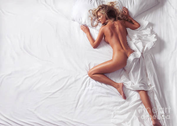 Wall Art - Photograph - Woman Sleeping Naked In Bed On White Sheets by Oleksiy Maksymenko