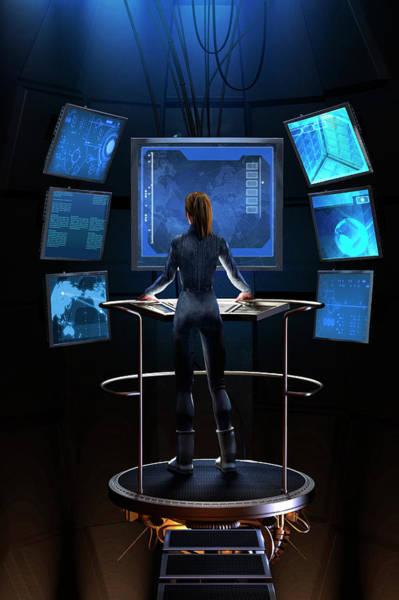 Visual Language Photograph - Woman Standing At Control Panel by Ikon Ikon Images