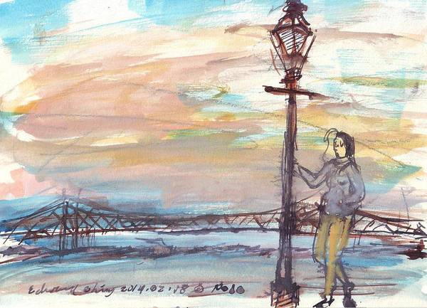 Mississippi River Drawing - Woman Standing Near Mississippi River by Edward Ching