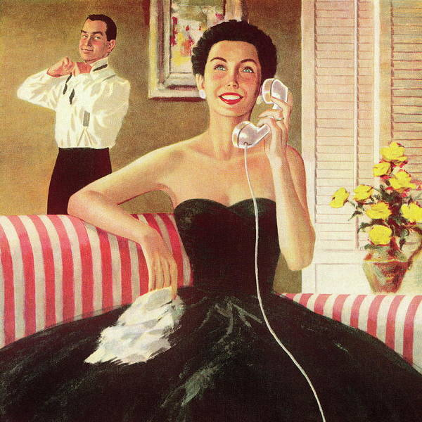 Woman Talking On The Telephone Art Print