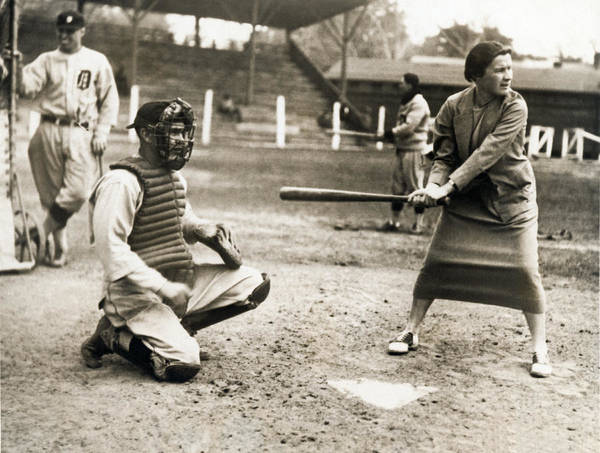Concentration Camp Photograph - Woman Tennis Star At Bat by Underwood Archives