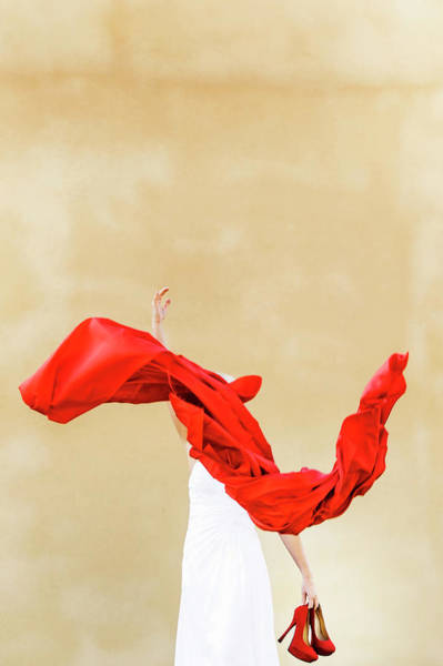 Red Dress Photograph - Woman Throwing Red Material While by Benny Ottosson