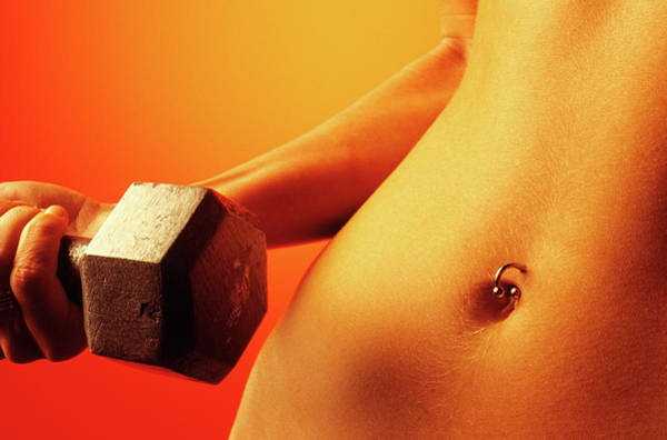 Body Piercing Photograph - Woman Torso With Pierced Bellybutton by Vintage Images