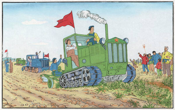 Farm Equipment Drawing - Woman Tractor Operator On A Communal by Mary Evans Picture Library