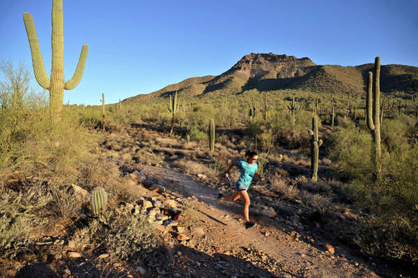 Wall Art - Photograph - Woman Trail Running In Usery Mountain by HagePhoto