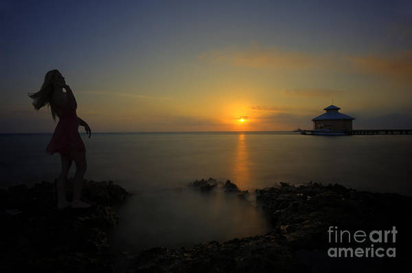Photograph - Woman Up At Sunrise On Beach by Dan Friend
