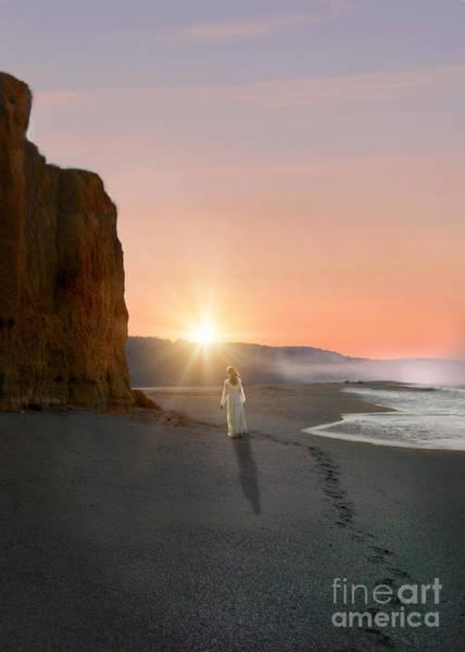 Wall Art - Photograph - Woman Walking On The Beach At Sunrise by Jill Battaglia