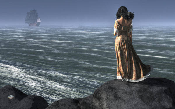 Digital Art - Woman Watching A Ship Sailing Away by Daniel Eskridge