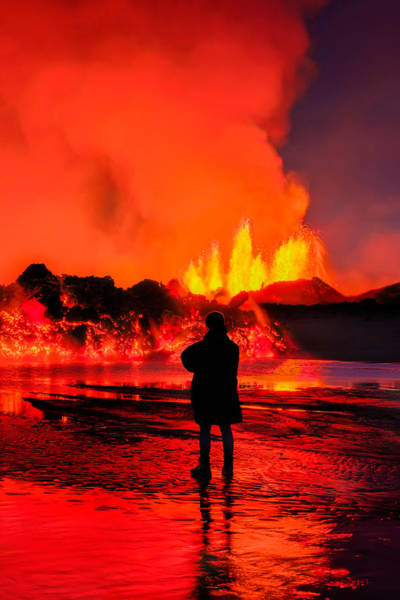 Fissure Photograph - Woman Watching The Lava Flow by Panoramic Images