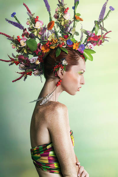 Hat Photograph - Woman Wearing A Colorful Floral Mohawk by Paper Boat Creative