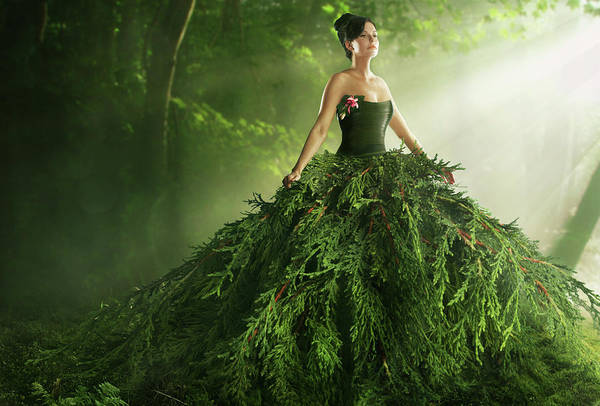 Conservation Photograph - Woman Wearing A Large Green Gown In The by Paper Boat Creative