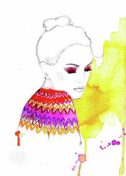 Eyelashes Wall Art - Digital Art - Woman Wearing Brightly Colored Fairisle by Jessica Durrant