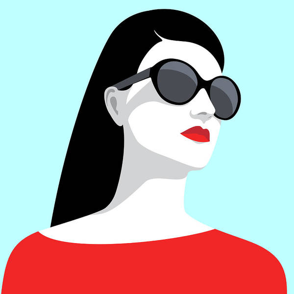 Red Dress Digital Art - Woman Wearing Sunglasses by Marzacz