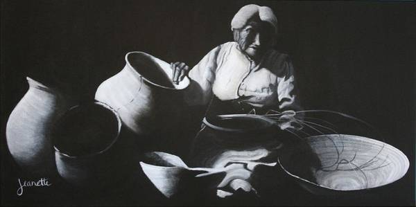 Painting - Woman Weaving A Basket by Jeanette Fellows
