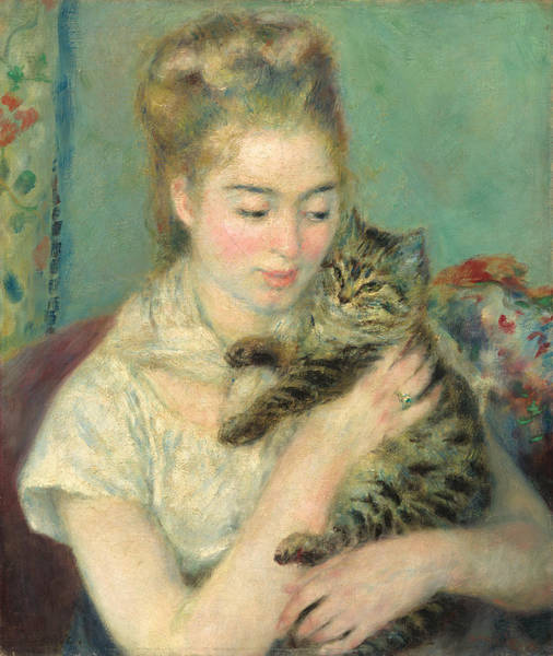 Painting - Woman With A Cat by Auguste Renoir