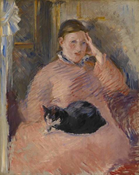 Wall Art - Painting - Woman With A Cat by Edouard Manet