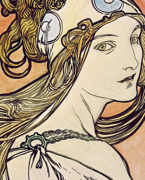 Femme Painting - Woman With A Headscarf by Alphonse Marie Mucha