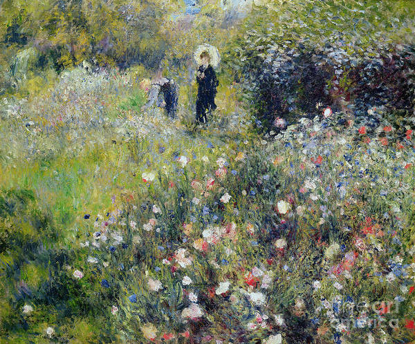 Renoir Wall Art - Painting - Woman With A Parasol In A Garden, 1875 by Pierre Auguste Renoir