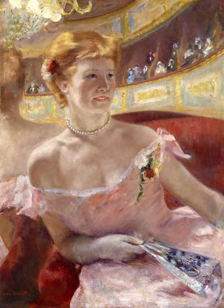 Cassatt Painting - Woman With A Pearl Necklace In A Loge by Mary Stevenson Cassatt