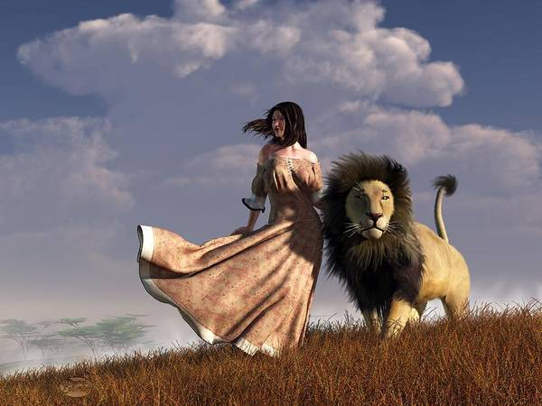 Digital Art - Woman With African Lion by Daniel Eskridge