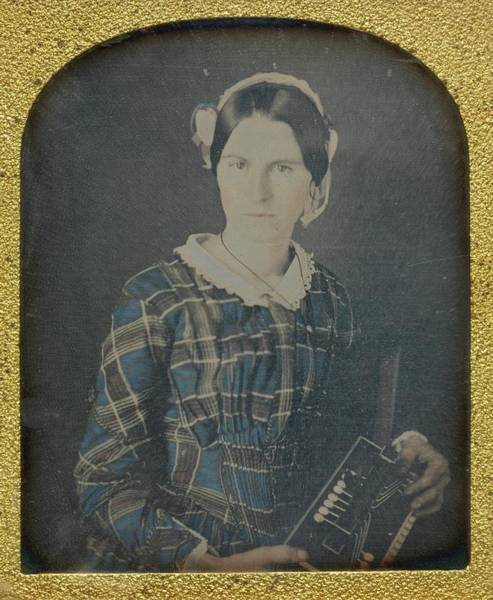 Central America Painting - Woman With An Accordion Daguerreotype by Ron Fasand