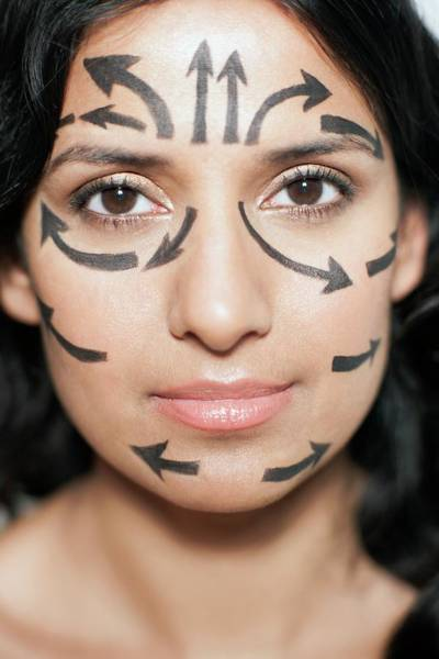 Plastic Surgery Wall Art - Photograph - Woman With Arrows On Face by Ian Hooton