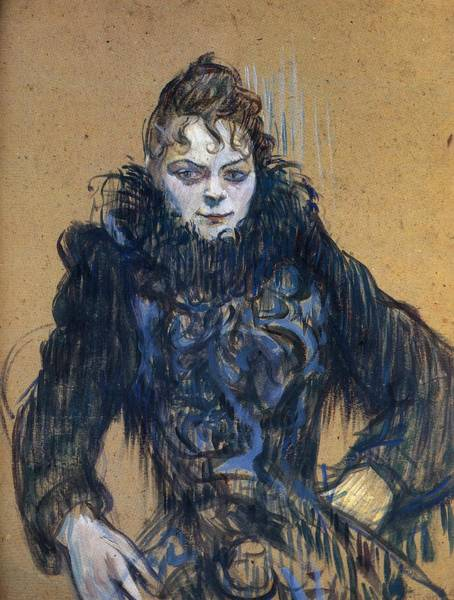 Boa Painting - Woman With Black Boa by Toulouse-Lautrec