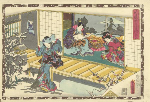 Garden Wall Drawing - Woman With Broom In Snowy Garden, Behind Her A Woman by Kunisada (i) And Utagawa And Kinugasa Fusajiro And Murata Heiemon