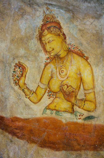 Golden Princess Photograph - Woman With Flowers. Sigiriya Cave Fresco by Jenny Rainbow