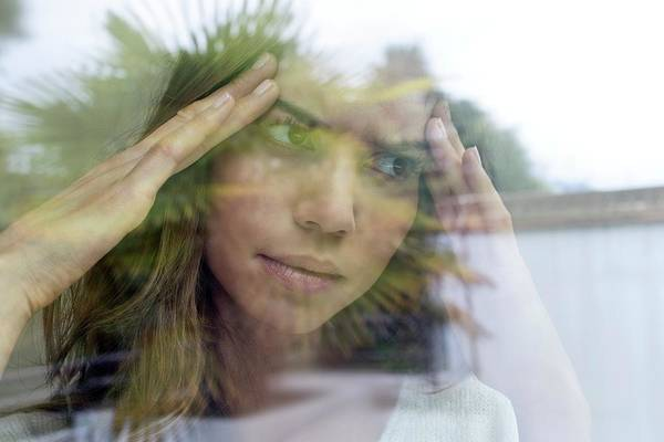 View Through Window Photograph - Woman With Hands On Head by Ian Hooton/science Photo Library