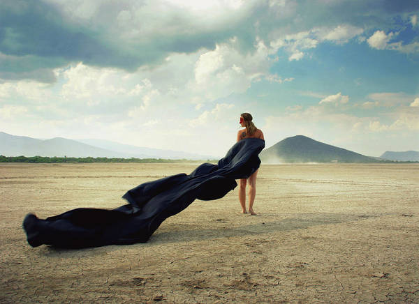 Shoulder Photograph - Woman With Long Dress by Saul Landell / Mex