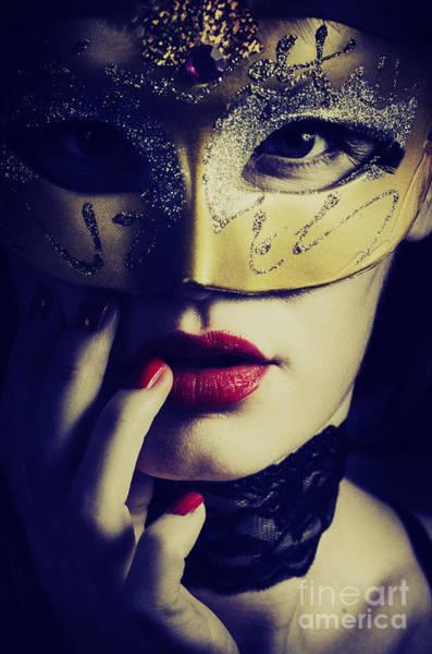 Carnival Wall Art - Pyrography - Woman With Mask by Jelena Jovanovic