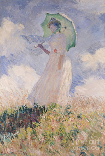 Umbrella Wall Art - Painting - Woman With Parasol Turned To The Left by Claude Monet