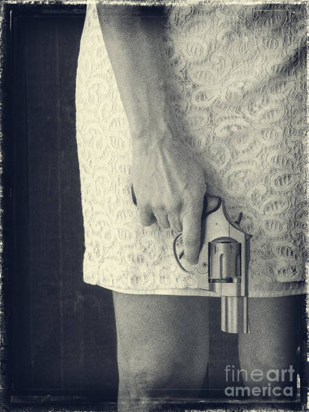 Revolver Photograph - Woman With Revolver by Edward Fielding
