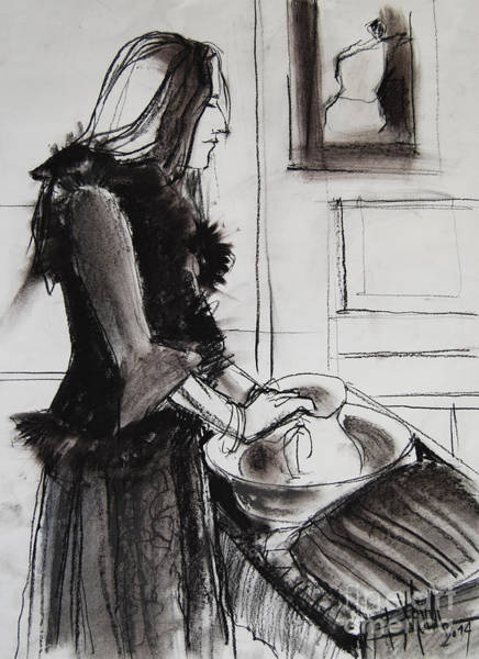 Wall Art - Drawing - Woman With Small Pitcher - Model #6 - Figure Series by Mona Edulesco