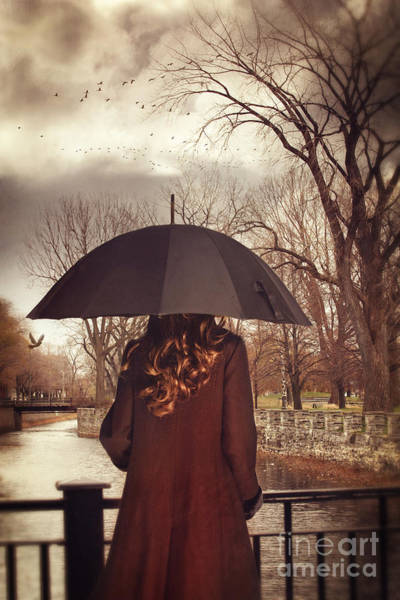 Photograph - Woman With Umbrella Standing On Bridge Canal In Lachine Montreal by Sandra Cunningham