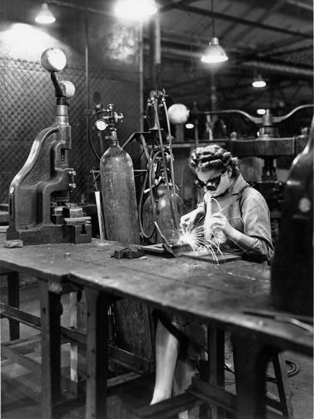 Armament Photograph - Woman Working In A Car Factory by Oxford University Images/science Photo Library