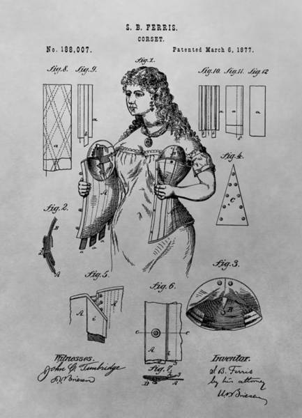 Drawing - Woman's Corset Patent Drawing by Dan Sproul