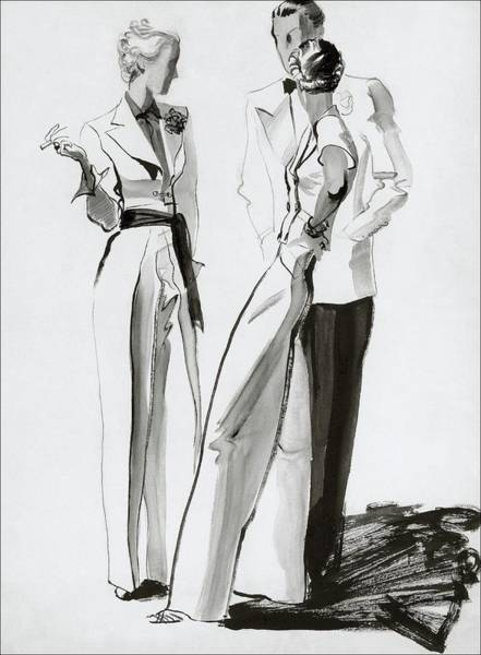 Fashion Digital Art - Women And A Man In Suits by Rene Bouet-Willaumez