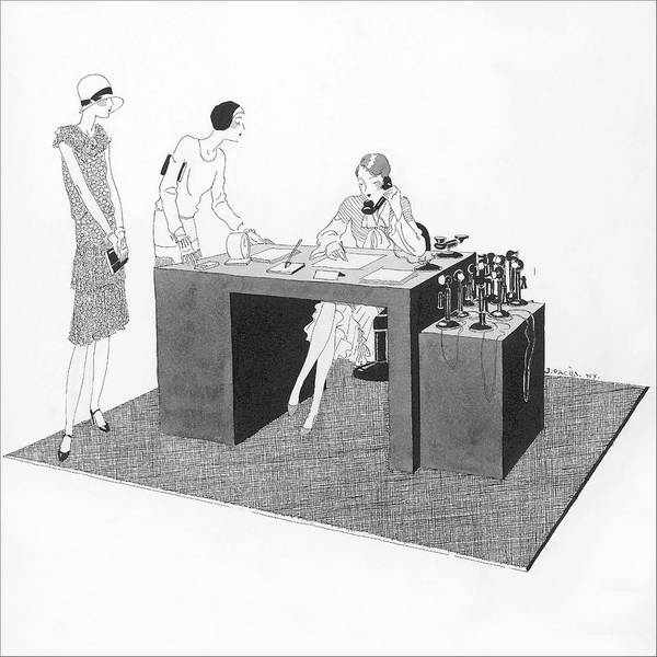 Monochrome Digital Art - Women At An Office Desk by Jean Pages