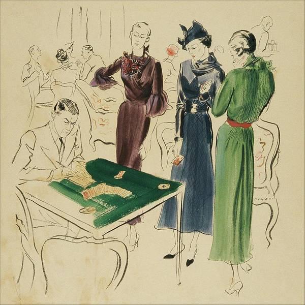 Old Fashioned Digital Art - Women By A Bridge Table by Rene Bouet-Willaumez