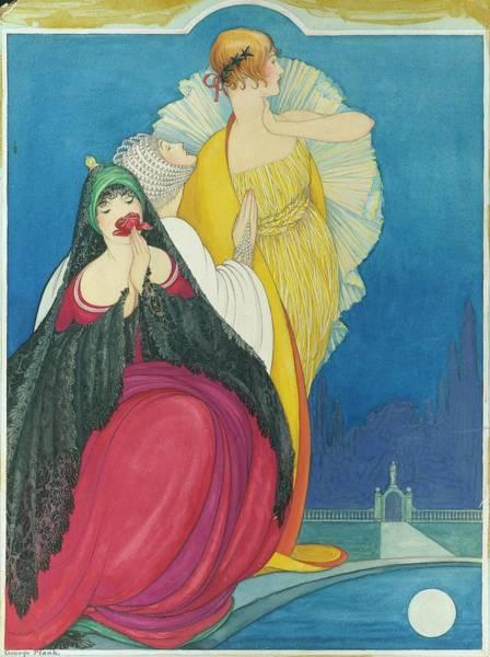 1920 Digital Art - Women By A Pool by George Wolfe Plank