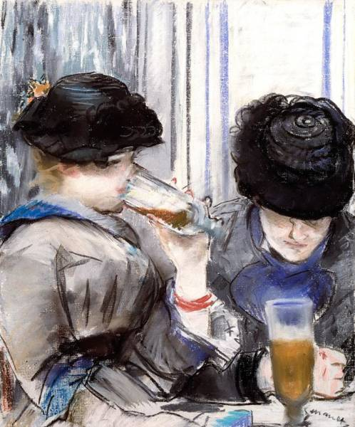 Impressionist Drawing - Women Drinking Beer, 1878 by Edouard Manet