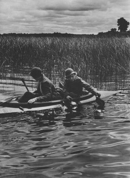 Boat Photograph - Women Duck Hunting In Chesapeake by Toni Frissell